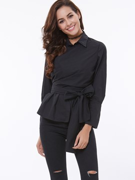 Ericdress Tie Bow Front T-Shirt