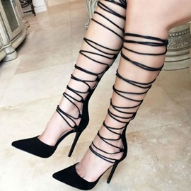 Ericdress Sexy Black Cut Out Point Toe Stiletto Sandals