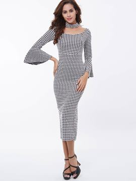 Ericdress Houndstooth Flare Sleeve Sheath Dress