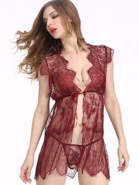 Ericdress Lace-Up Sexy Sheer Babydoll