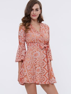 Ericdress Flare Sleeve Lace-Up Lace Dress