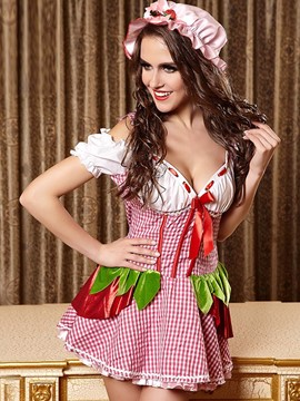 Ericdress Patchwork Sexy Deep V-Neck Maid Cosplay Costume