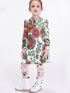 Ericdress Cowl-Neck Plant Printed Pleated Girls Tops