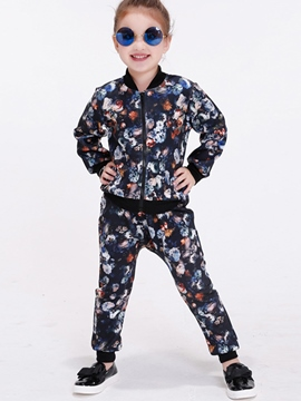 Ericdress Fashion Floral Printed Thread Patchwork Cowl-Neck Two-Piece Girls Outfits