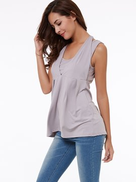 Ericdress Solid Color Slim Lace-Up T-Shirt