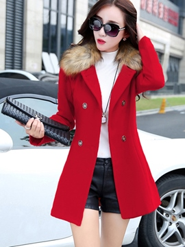 Ericdress Slim Double-Breasted Solid Color Coat