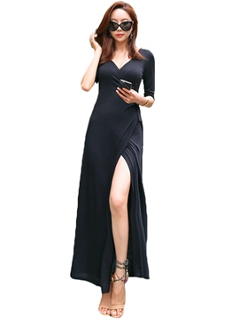 Ericdress Solid Color V-Neck Split Maxi Dress