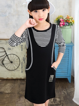 Ericdress Strips Tee Suspenders Patchwork Girls Outfits
