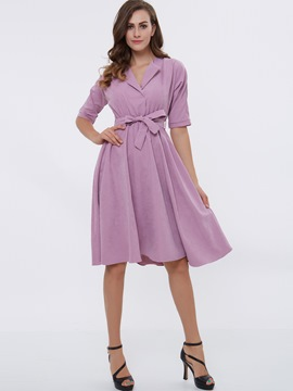 Ericdress Plain Lace-Up Half Sleeve Expansion Casual Dress