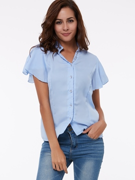 Ericdress Slim Single-Breasted Chiffon Blouse