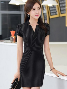 Ericdress Stripe V-Neck Short Sleeve Bodycon Dress