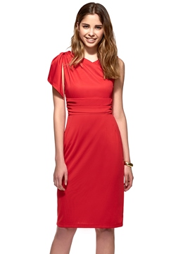 Ericdress Falbala Sleeveless Plain Sheath Dress