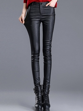 Ericdress Simple Faux Leather Pants