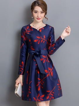 Ericdress Leaf Print Lace-Up Long Sleeve Casual Dress
