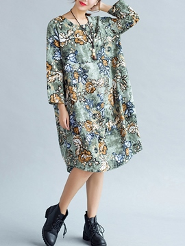 Ericdress Print Ethic Long Sleeve Casual Dress