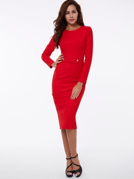 Ericdress Plain Patchwork Long Sleeve Sheath Dress