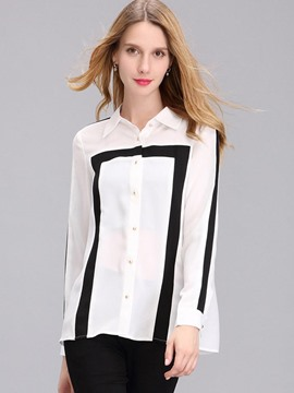 Ericdress Loose Color Block Stripped Blouse