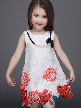 Ericdress Necklace Floral Lace-Trim Girls Dress
