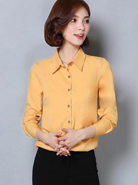 Ericdress Simple Solid Color Single-Breasted Blouse