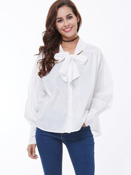 Ericdress Tie Bow Front Single-Breasted Loose Blouse