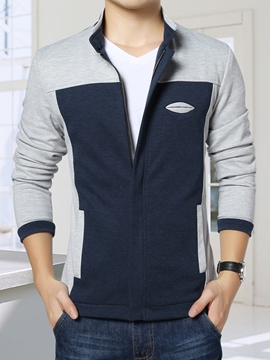 Ericdress Color Block Zip-Up Casual Men's Jacket