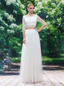 Ericdress Beautiful A Line Lace Two Pieces Wedding Dress With Sleeves