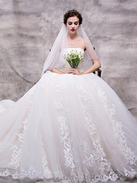 Ericdress Beautiful Appliques Strapless Ball Gown Wedding Dress