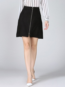Ericdress Simple Zipper A-Line Skirt