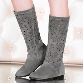 Ericdress All Match Cut Out Knee High Boots