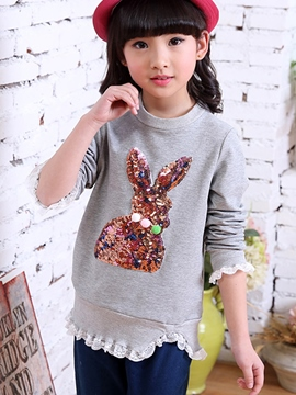 Ericdress Sequins Embroidery Lace Falbala Patchwork Girls Top