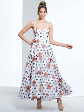 Ericdress A-Line Sweetheart Printed Ankle-Length Prom Dress