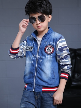 Ericdress Camo Patchwork Letter Printed Denim Worn Boys Tops