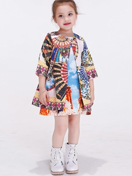 Ericdress Layers Mixed-Print?Printed Girls Outerwears