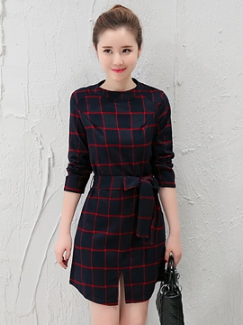 Ericdress Plaid Lace-Up A-Line Casual Dress
