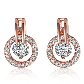 Ericdress Rose Gold Zircon Stud Earrings