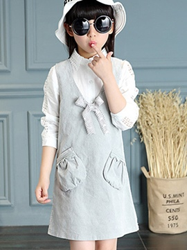 Ericdress V Collar Suspender Bow Patchwork Pockets Pleated Girls Dress