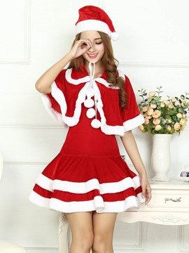 Ericdress Fur Hem Patchwork with Cape Cute Santa Cosplay Christmas Cosplay