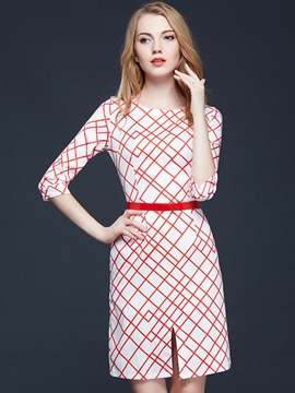 Ericdress Plaid Split Belt Sheath Dress