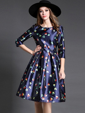 Ericdress Print Pleated Three-Quarter Sleeve Casual Dress