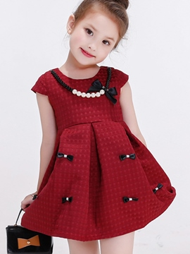 Ericdress Necklace Bow Appliques Patchwork Pleated Girls Dress