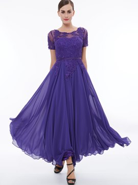 Ericdress A Line Short Sleeve Lace Applique Evening Party Dress