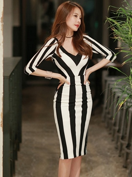 Ericdress Summer Half Sleeve V-Neck Stripe Sheath Dress