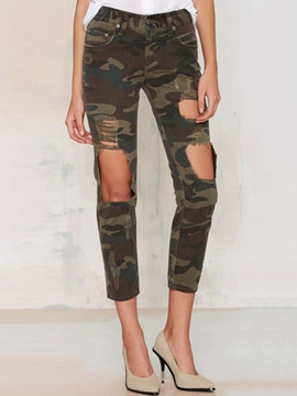 Ericdress Unique camouflage Hole Jeans