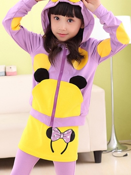 Ericdress Color Block Printed Cartoon Hooded Two-Piece Girls Outfit