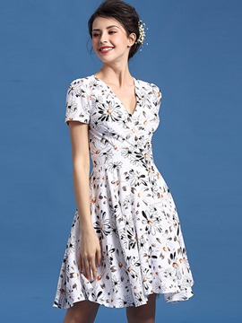 Ericdress Short Sleeve Print A-Line Casual Dress