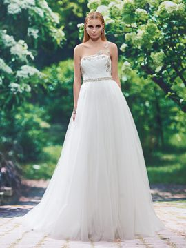 Ericdress Beautiful Beaded One Shoulder A Line Wedding Dress