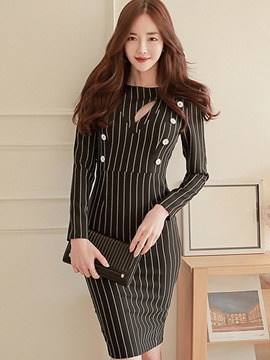 Ericdress Stripe Hollow Long Sleeve Sheath Dress