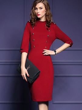 Ericdress Solid Color Double Breasted Half Sleeve Bodycon Dress