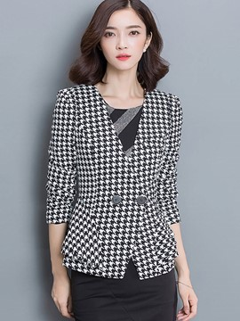 Ericdress Slim V-Neck Houndstooth Blazer