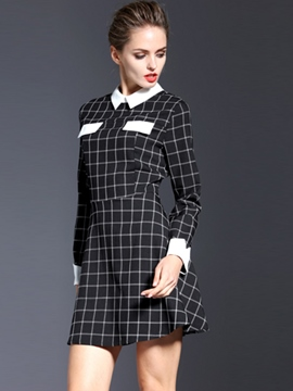 Ericdress Plaid Lapel Long Sleeve Casual Dress